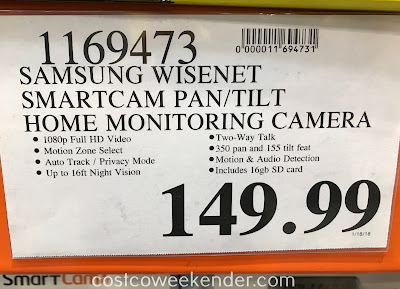 Deal for the Samsung Wisenet SmartCam HD Wi-Fi Pan/Tilt Camera at Costco
