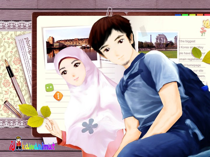 Terbaru Gambar Wallpaper Muslimah Berpasangan Kartun Muslimah Couple Romantis Terupdate