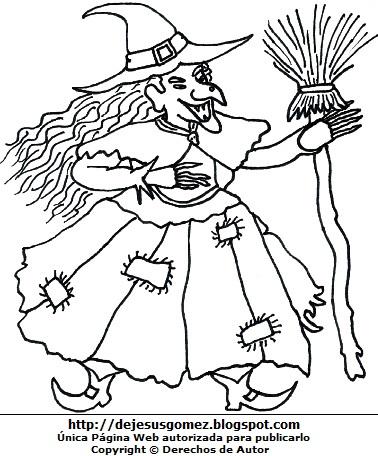 Dibujo de una bruja agarrando su escoba para colorear o pintar. Ilustración de bruja de Jesus Gómez