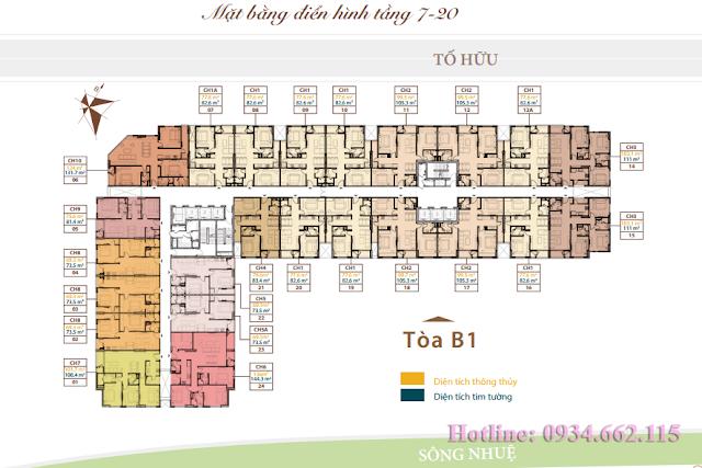 Mặt bằng tầng căn hộ điển hình tầng 7-20