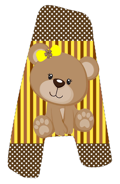 Abecedario con Osita con Lazo Amarillo. Bear with Yellow Bow Alphabet.