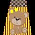 Abecedario con Osita con Lazo Amarillo. Bear with Yellow Bow Alphabet.