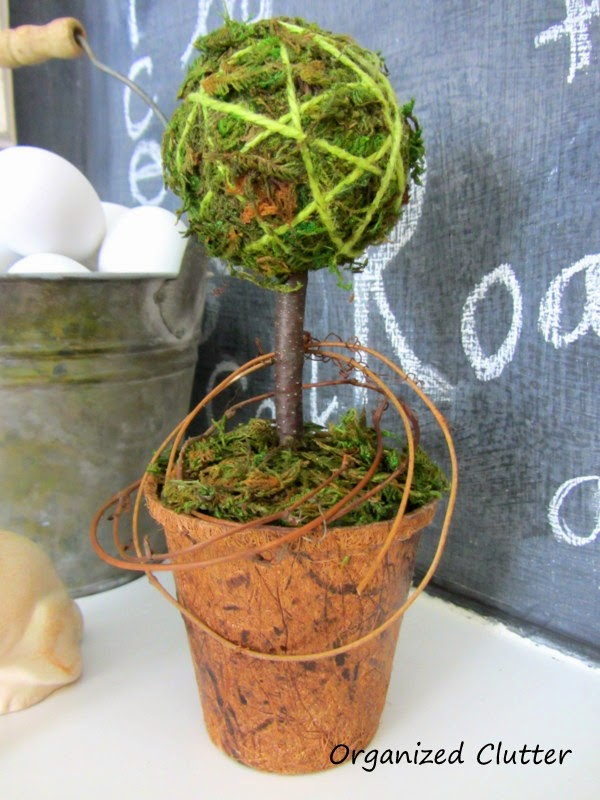 Homemade Topiary with Moss Ball & Peat Pot www.organizedclutterqueen.blogspot.com