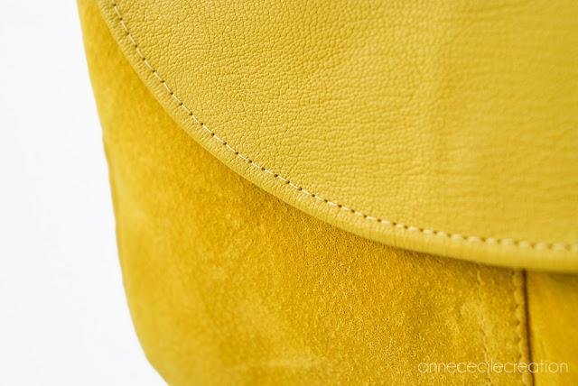 sac daim cuir jaune