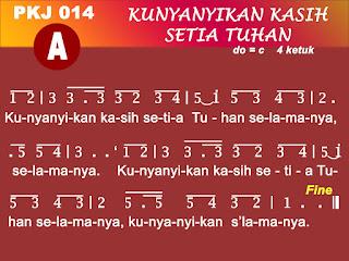 Lirik dan Not PKJ 14 Kunyanyikan Kasih Setia Tuhan
