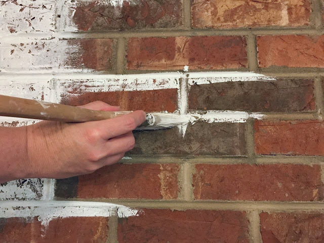tutorial for painting a brick fireplace