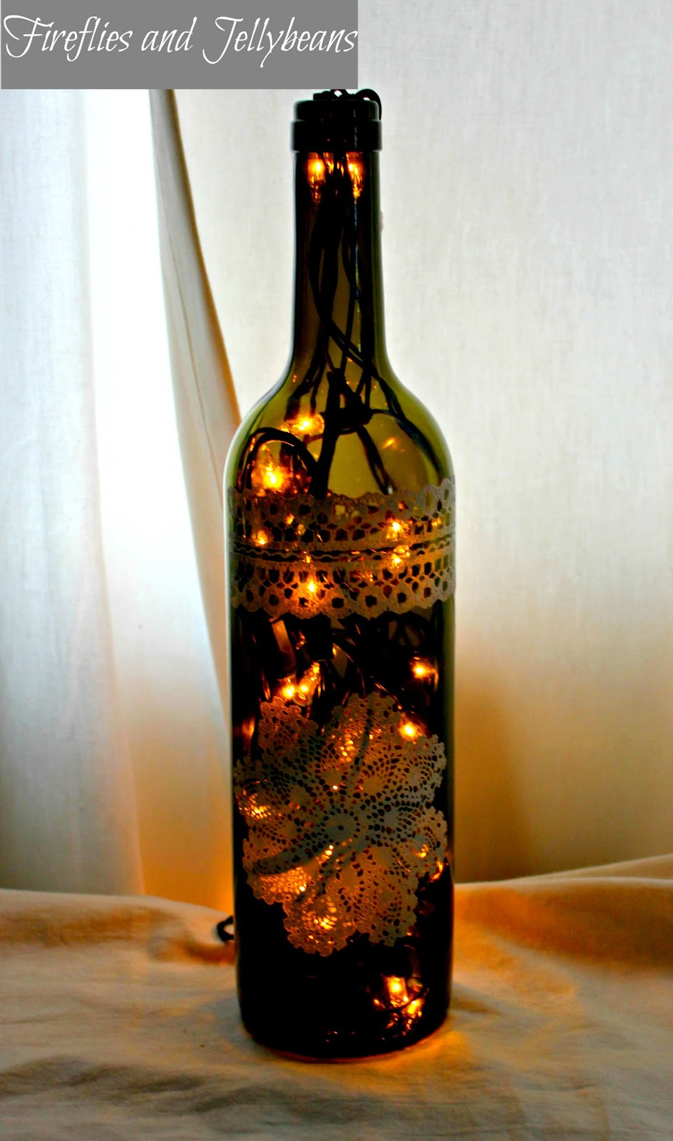 Fireflies And Jellybeans Wine Bottle Luminary Tutorial