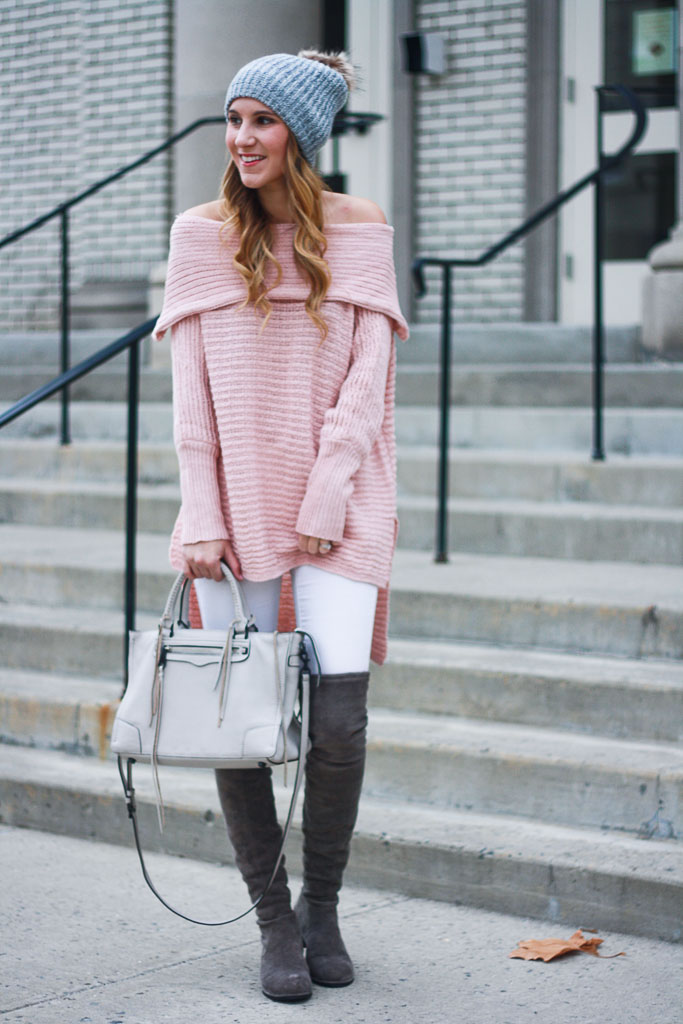 Blush Off the Shoulder Sweater - Twenties Girl Style