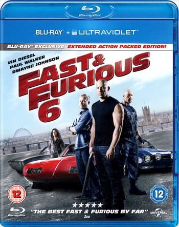 Poster of Fast And Furious 6 2013 Extended BRRip 400MB 480p Dual Audio Watch Online Free Download Worldfree4u