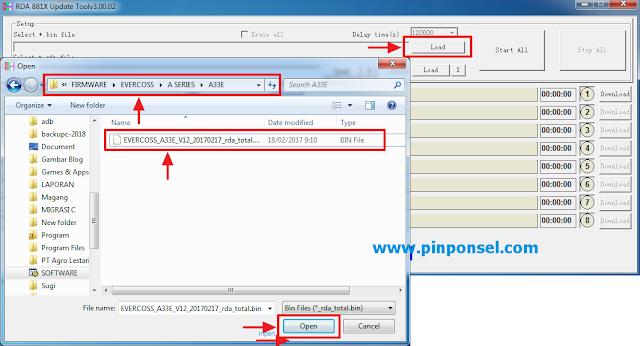 Memasukkan file firmware untuk Cara Flash Evercoss A33C Menggunakan RDA 881X Tool