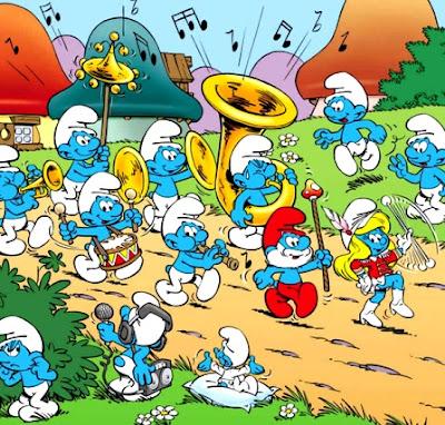 Dibujo de los pitufos marchando y con su orquesta