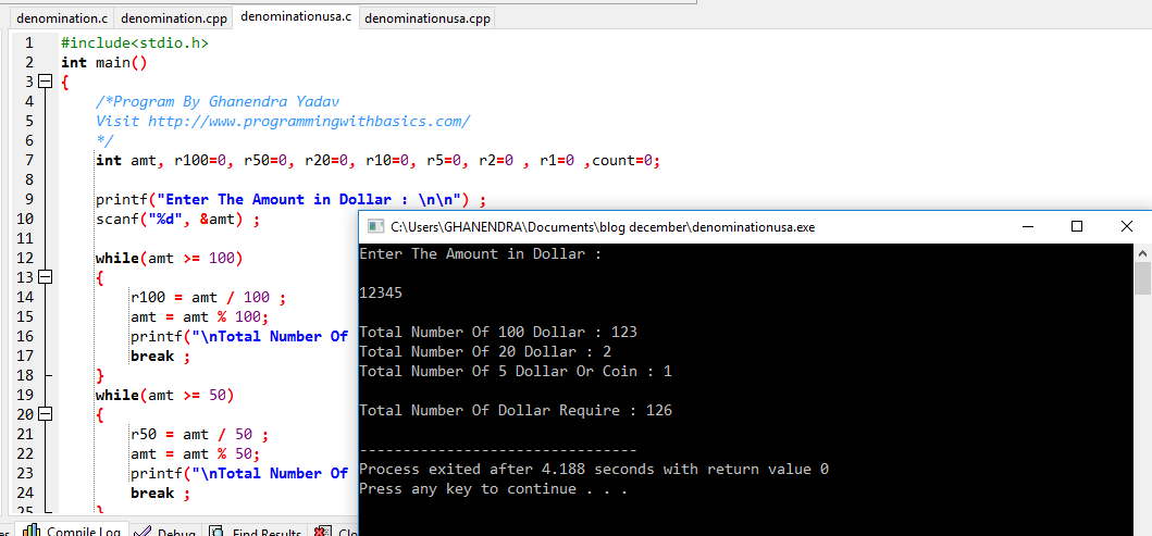 C Program For Denomination For USA Dollar
