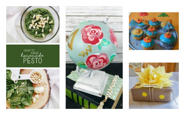 Home Crafts by Ali features pins from Ultimate Pinterest Party Week 158 pesto globe makeover summer cupcakes paper flowers