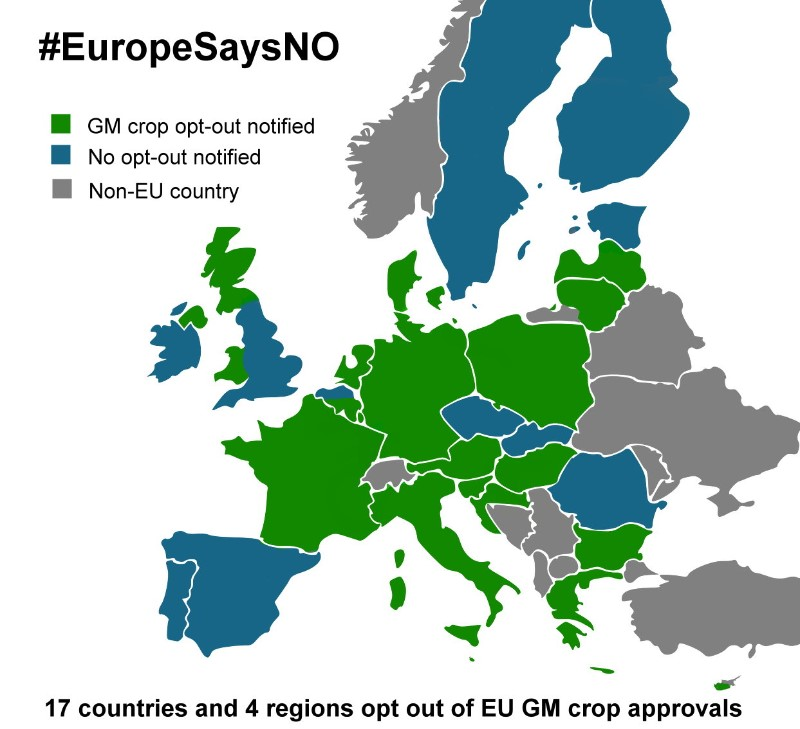 17 countries and 4 regions opt out of EU GM crop approvals