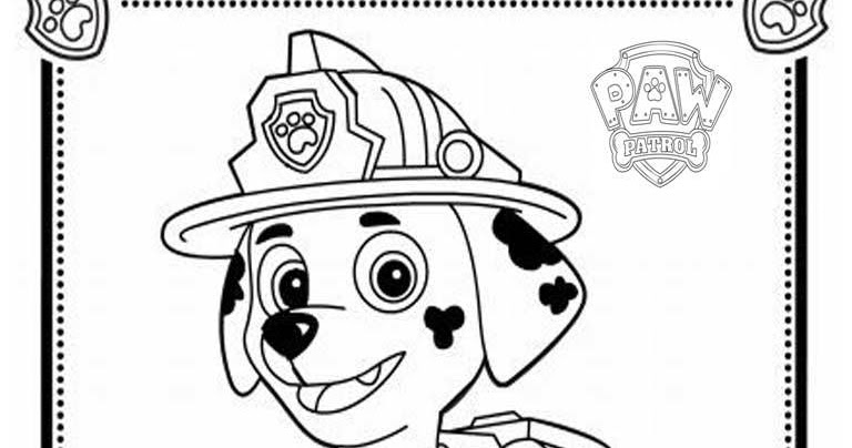 mewarnai coloring Paw Patrol Coloring Pages Marshall Paw