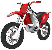 Clip art of a motorcycle, by By Theresa Knott, via Wikimedia Commons
