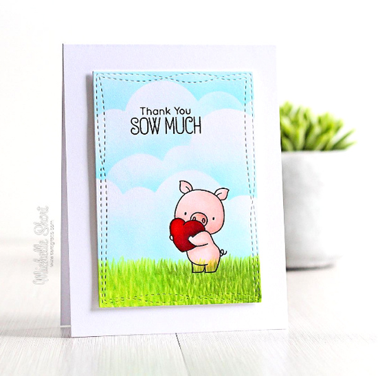 Birdie Brown Hog Heaven stamp set and Wonky Stitched Rectangle STAX Die-namics - Michelle Short #mftstamps