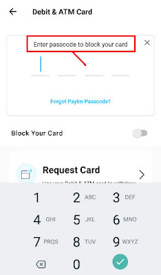 how to block virtual atm card on paytm app
