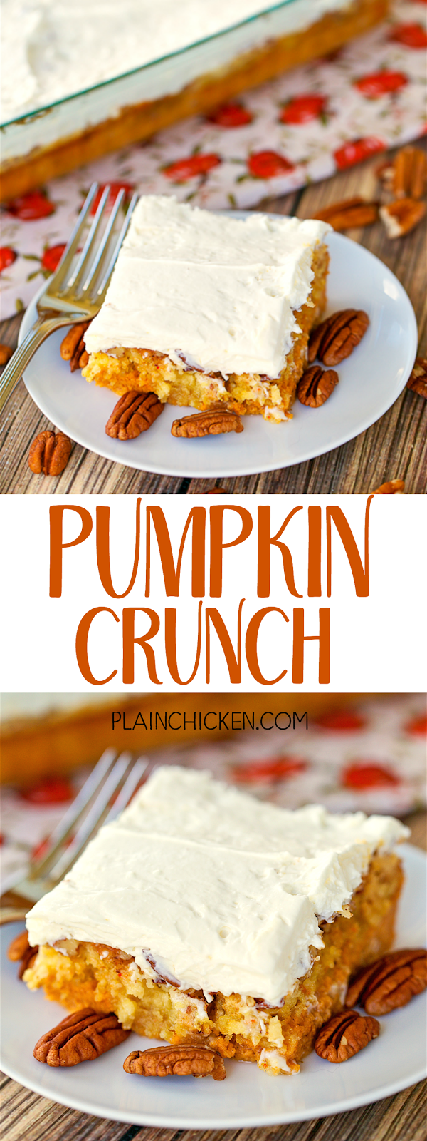 Pumpkin Crunch - I hate pumpkin, but I LOVE this cake!! SO easy! Pumpkin, evaporated milk, eggs, sugar, pumpkin spice, cake mix, pecans and butter. Frost with a mixture of cream cheese, powdered sugar and cool whip. SO good. I took this to a potluck and everyone cleaned their plate. The pumpkin haters were shocked when I told them what it was!! YUM!