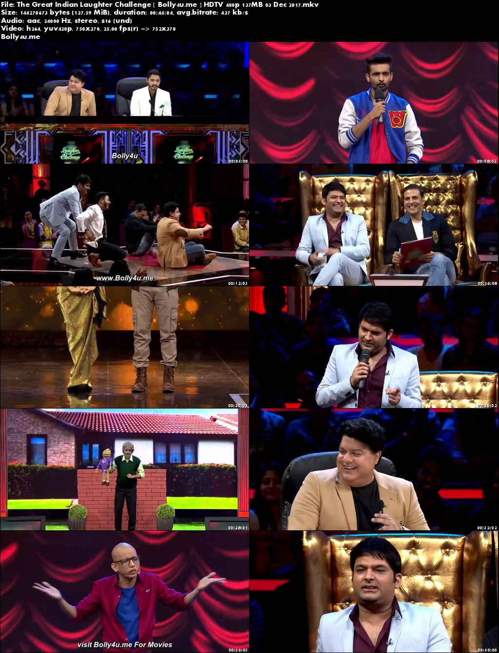 The Great Indian Laughter Challenge HDTV 480p 140MB 03 Dec 2017 Download