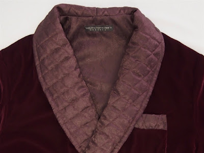 Mens burgundy red velvet dressing gown with quilted silk shawl collar classic luxury housecoat tailored.