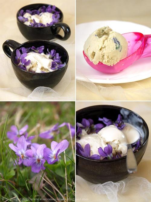lody fiołkowe z syropem z kwiatów fiołka