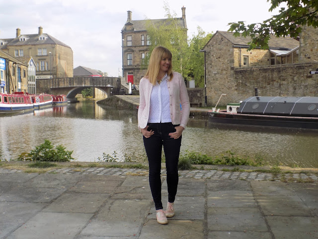 Winser London pink knitted jacket, broderie top and skinny jeans