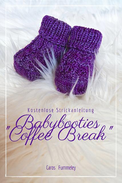 Hier findest du eine kostenlose Anleitung zum Stricken dieser süßen Babybooties im Kaffeebohnen-Muster