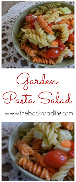 Garden Pasta Salad is a great use of fresh garden vegetables