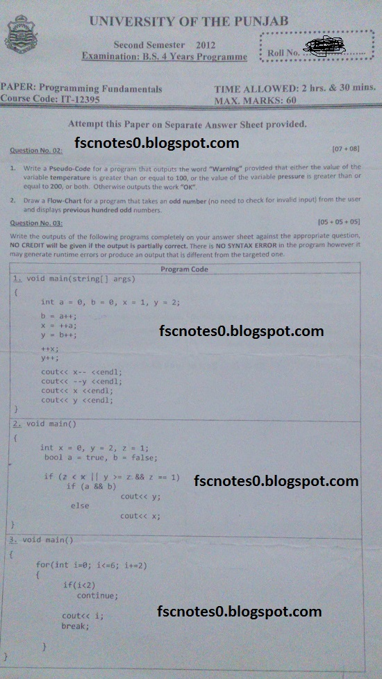 BS (Hons) IT Information Technology Past Papers Semester 2 Programming Fundamentals 2013 Asad Hussain