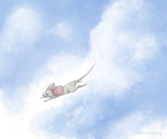 flying mouse illustration sketch, 2017, Kaitlin Gray