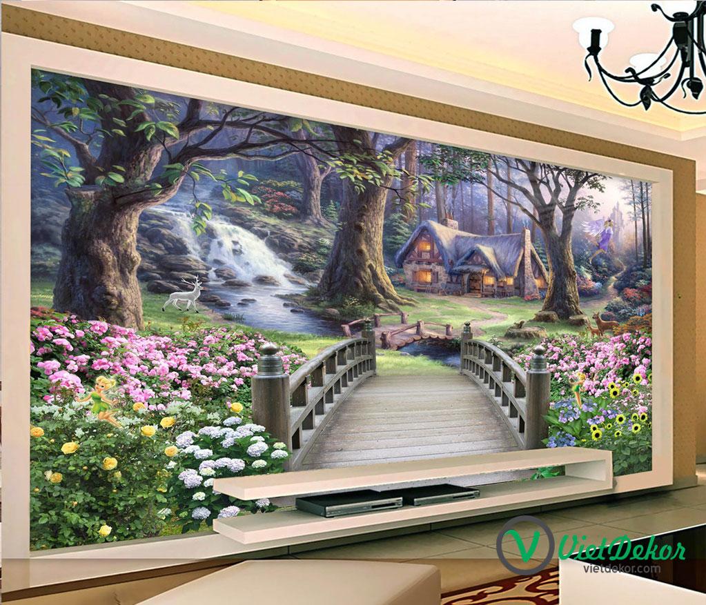 Tranh dán tường 3d vườn hoa cây lớn
