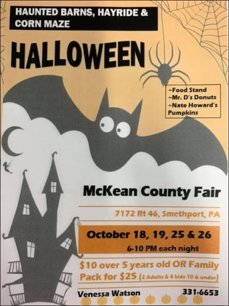 10-19/25/26 Haunted Barns, Fairgrounds, Smethport, PA