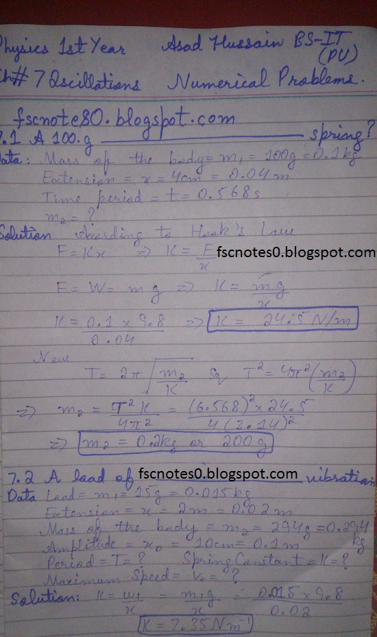 F.Sc ICS Notes: Physics XI: Chapter 7 Oscillations Numerical Problems Asad Hussain