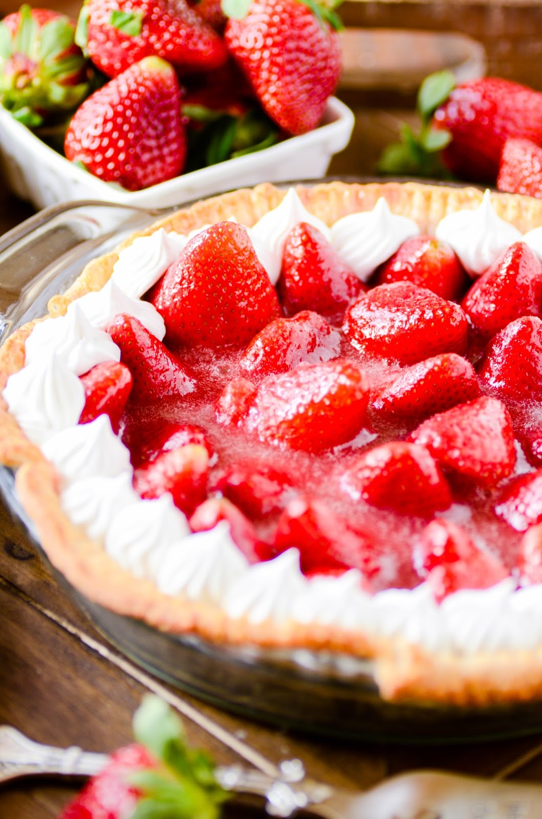 Delicious strawberry pie with a completely homemade filling.