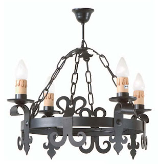 lampara salon rustico en forja negra