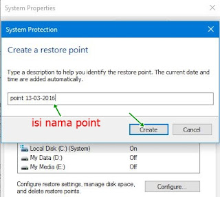 system protection restore point