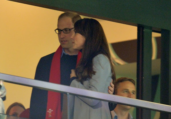 Kate Middleton and Prince William attend the Australia v Wales match during the Rugby World Cup 2015 at Twickenham Stadium