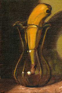 Oil painting of a banana in a tulip-shaped glass vase.
