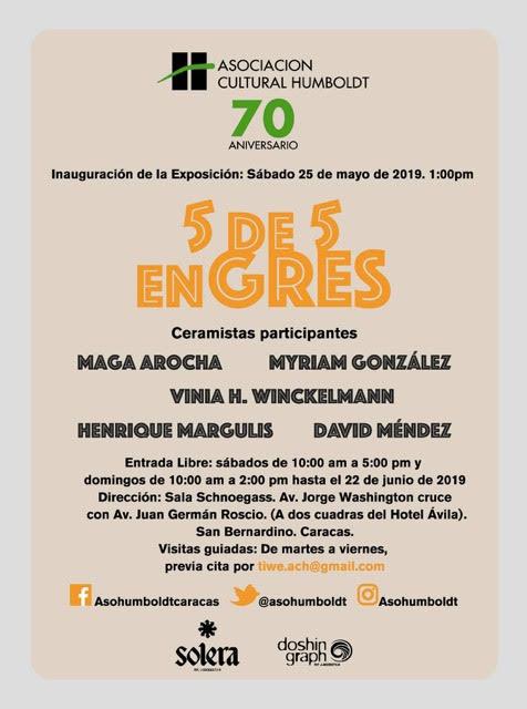 """VENEZUELA: Asociación Cultural Humboldt inaugura """"5 de 5 en Gres"""" Este 25 de mayo en Caracas."""