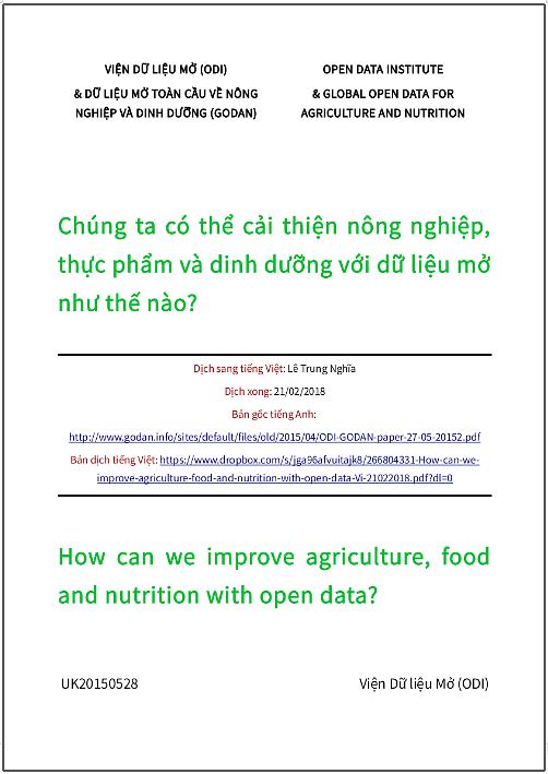 'Chúng ta có thể cải thiện nông nghiệp, thực phẩm và dinh dưỡng với dữ liệu mở như thế nào?' - bản dịch sang tiếng Việt