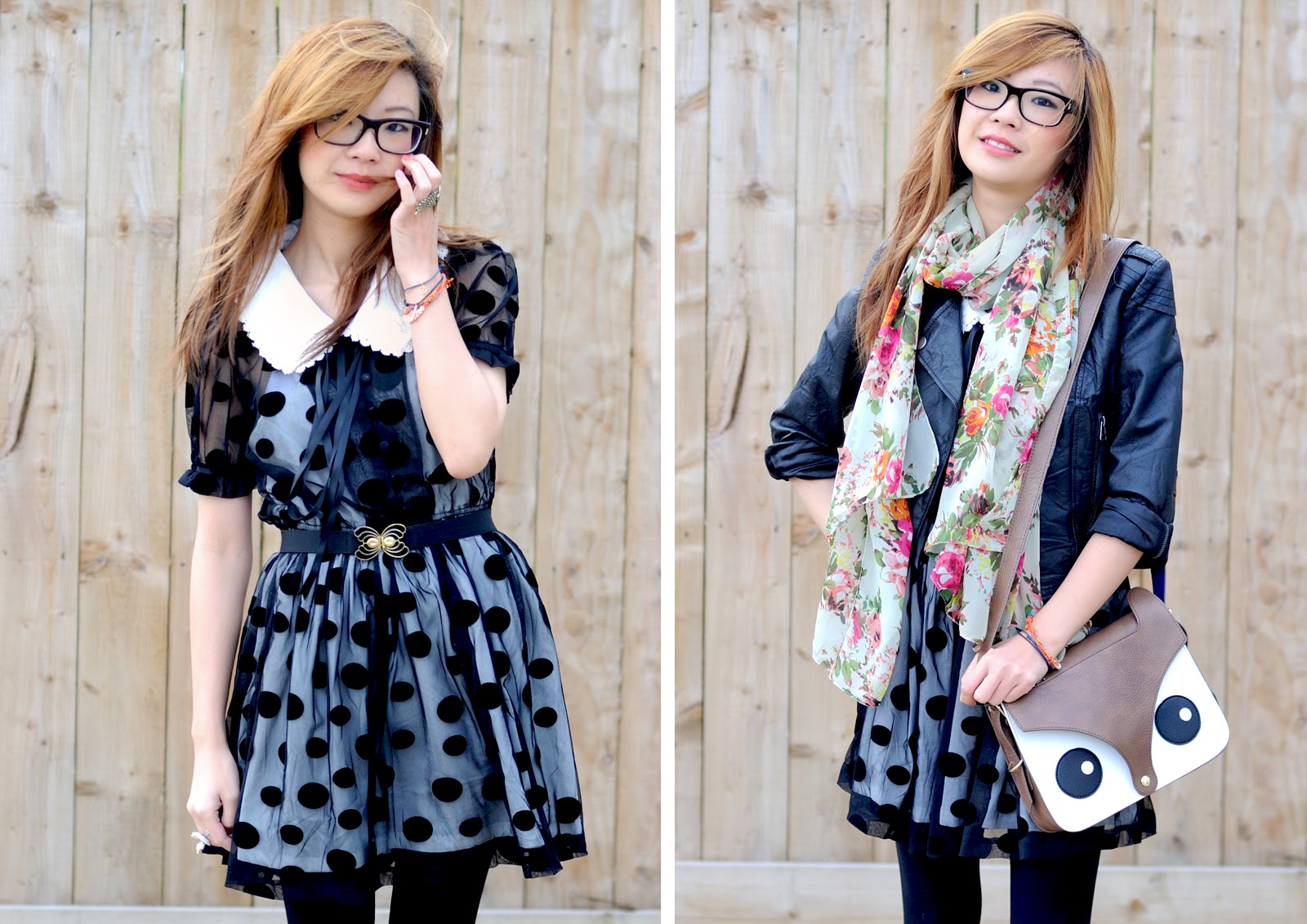 fashion blogger uk outfit of the day, black polka dot dress, dahlia dress