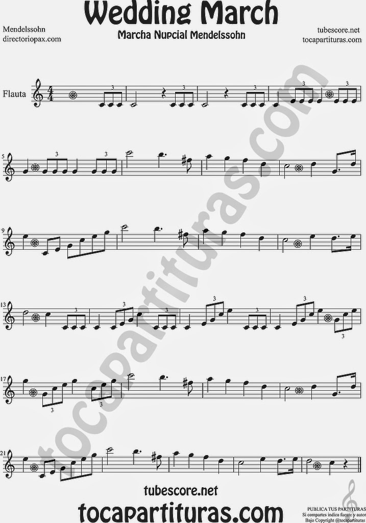 Marcha Nupcial Partitura de Flauta Travesera,o Traversa Wedding March by Mendelssohn Sheet Music for Flute Music Scores