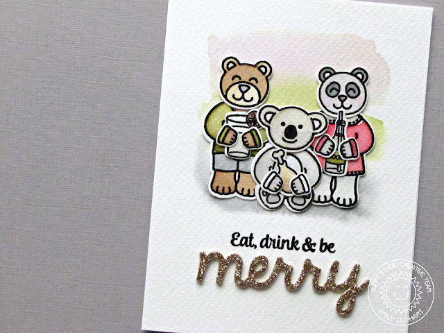 Sunny Studio Stamps: Comfy Creatures & Merry Sentiments Eat, Drink & Be Merry Christmas Card by Emily Leiphart.
