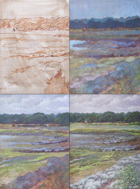 Hampshire Warsash path on coast WIP Martin davey art
