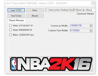 NBA2K16 Cheats Edition2016 save Editor [0 1]- Xbox 360 Mod