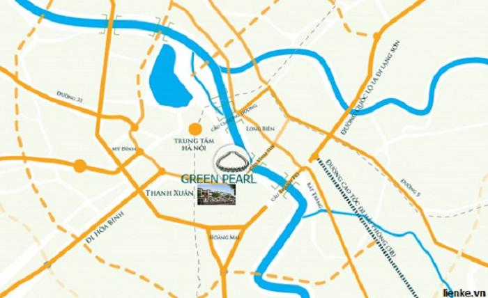 Vị trí dự án chung cư Green Pearl 378 Minh Khai