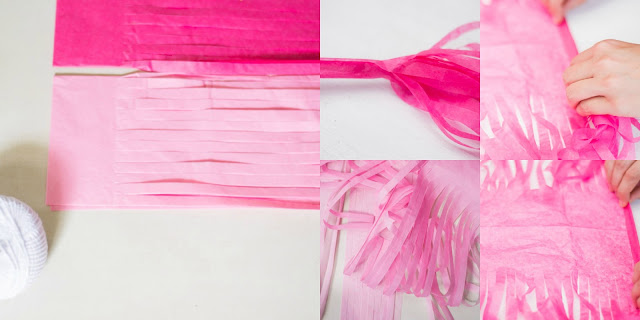 Guirnalda borlas papel de seda diy