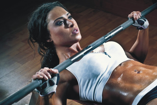 fitness-girl-model-barbell-press