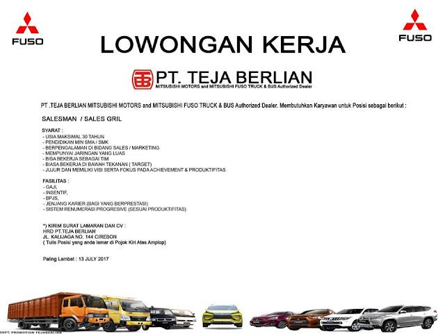 Lowongan kerja PT Teja Berlian Motor Cirebon